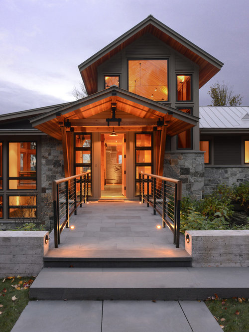 Example Of A Mountain Style Mixed Siding Exterior Home Design In Burlington  With A Gable Roof