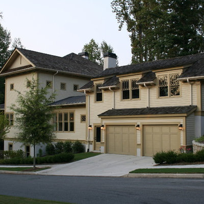 Inspiration for a timeless wood exterior home remodel in Atlanta