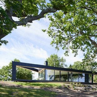 Idee per la facciata di una casa nera scandinava a un piano con rivestimento in vetro e tetto piano