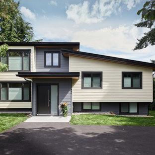 На фото: разноцветный частный загородный дом среднего размера в современном стиле с разными уровнями, облицовкой из ЦСП, односкатной крышей и зеленой крышей с