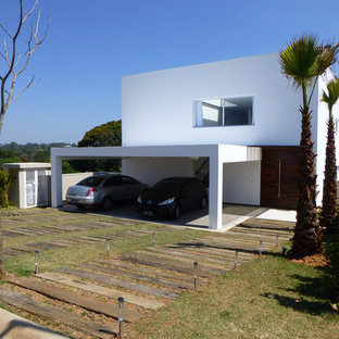 Design ideas for a contemporary two-storey exterior in Other.