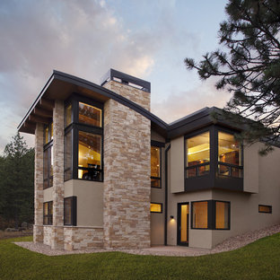 Example of a minimalist exterior home design in Denver