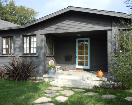 Grey house with brown deck ideas pictures remodel and decor for Modern gray house exterior