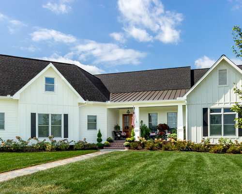 Farmhouse White e Story Exterior Design Ideas Remodels & s