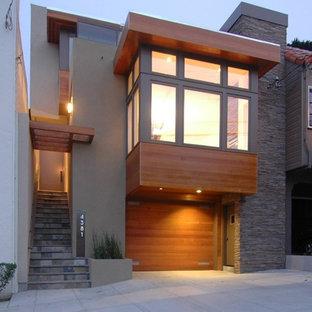Large trendy gray three-story mixed siding exterior home photo in San Francisco