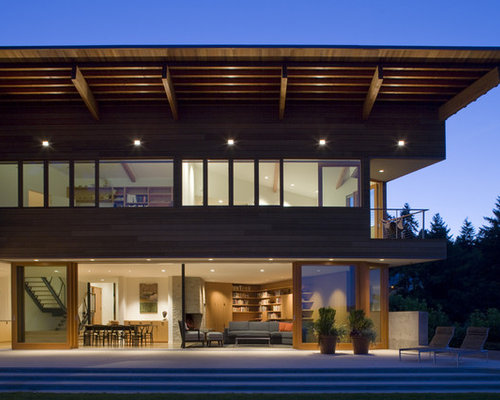 Large Trendy Two Story Exterior Home Photo In Seattle
