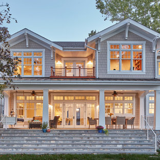 Inspiration for a large coastal two-story wood exterior home remodel in Baltimore