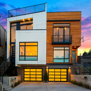 Inspiration for a contemporary three-story exterior home remodel in Seattle
