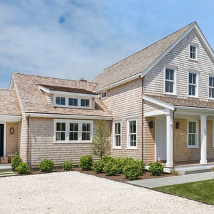 Coastal Beige Two Story Wood Gable Roof Photo In Providence With A Shingle  Roof