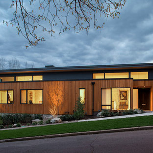 Inspiration for a contemporary one-story exterior home remodel in Portland