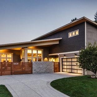 Immagine della facciata di una casa contemporanea a due piani