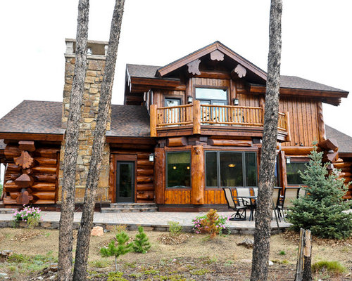 Western red cedar ranch style log home for Log ranch homes