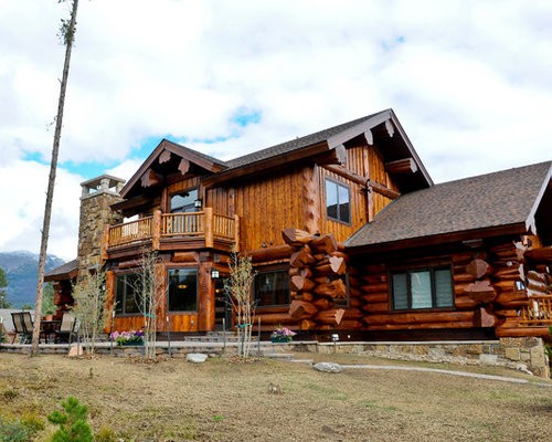 Western red cedar ranch style log home for Ranch log homes