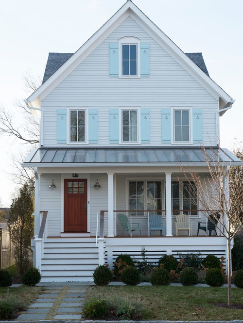 Blue House Brown Roof Houzz