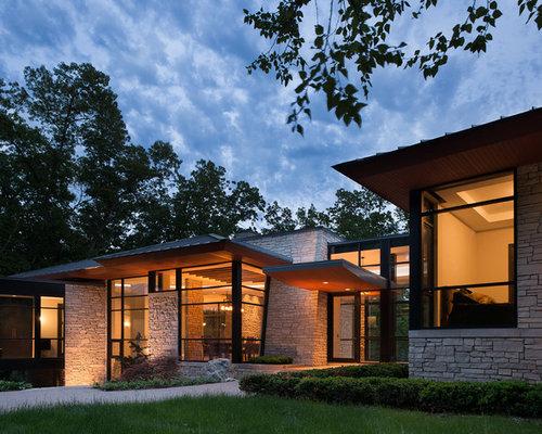 Modern stone exterior houzz for Contemporary stone house exterior