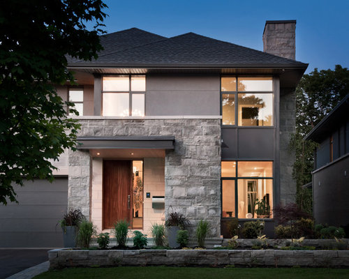 Stone stucco exterior home design ideas pictures remodel for Stucco stone exterior designs