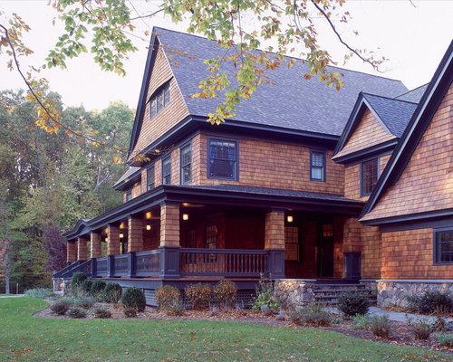 Cedar shake and stone houzz for Cedar shake house
