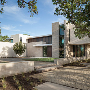 Modern gray stone exterior home idea in Houston
