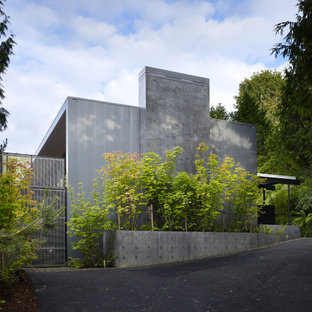 Medium sized and gey modern split-level house exterior in Seattle with metal cladding and a flat roof.