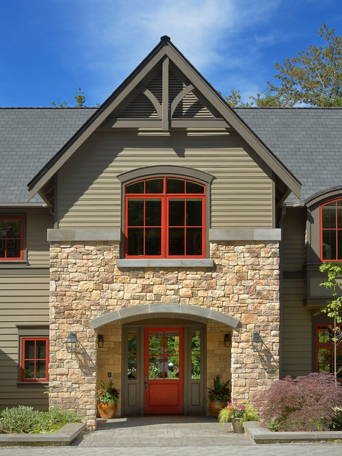 Red window trim home design ideas pictures remodel and decor Gable accents