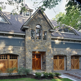 Inspiration for a timeless wood exterior home remodel in Boston