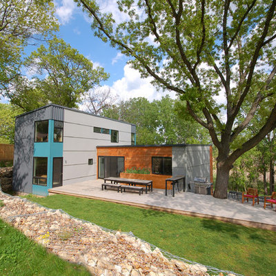 Trendy blue two-story mixed siding exterior home photo in Minneapolis