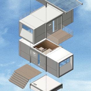 На фото: дом из контейнеров в современном стиле с