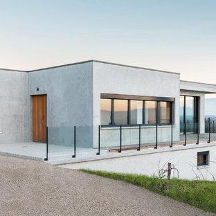 Réalisation d'une façade de maison grise minimaliste de taille moyenne avec un toit plat.