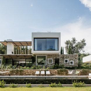 Cette photo montre une grand façade de maison multicolore tendance à un étage avec un revêtement en stuc et un toit plat.