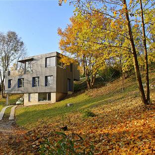 Inspiration pour une façade de maison design avec un toit plat.