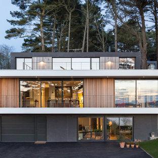 Idée de décoration pour une façade de maison multicolore design à deux étages et plus avec un revêtement mixte et un toit plat.