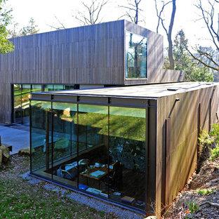 Cette image montre une façade en bois marron design de taille moyenne et à un étage avec un toit plat.