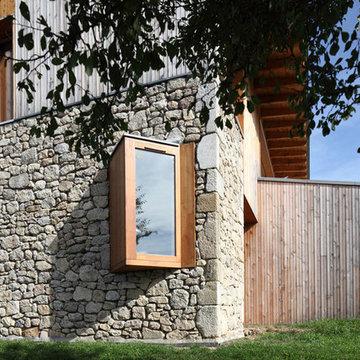 Maison individuelle pierre et bois