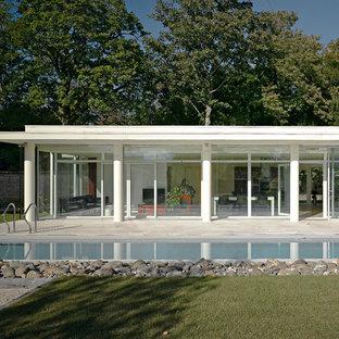 Réalisation d'une façade en verre blanche minimaliste de plain-pied et de taille moyenne avec un toit plat.