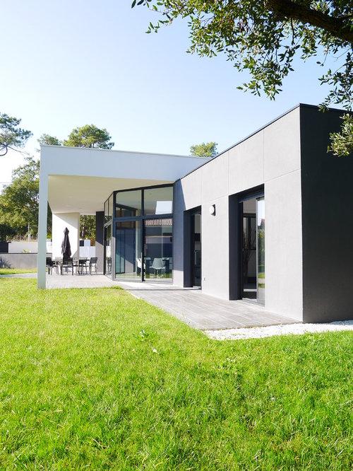 photos d 39 architecture et id es d co de fa ades de maisons contemporaines de plain pied. Black Bedroom Furniture Sets. Home Design Ideas