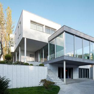 Cette image montre une façade en verre blanche minimaliste de taille moyenne et à deux étages et plus avec un toit plat.