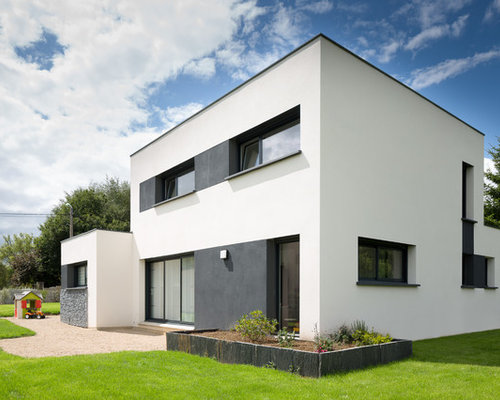 Photos d 39 architecture et id es d co de fa ades de maisons modernes for Maison moderne blanche