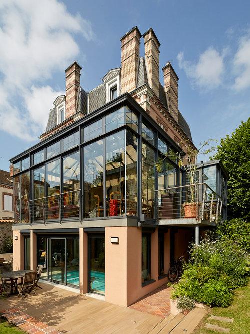 contemporary maison ancienne avec extension contemporaine home design ideas photos. Black Bedroom Furniture Sets. Home Design Ideas