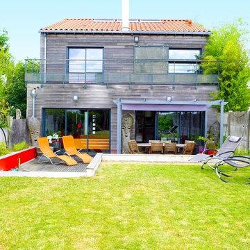 Une maison atypique à ossature en bois