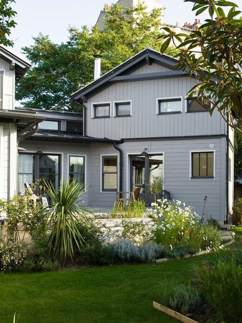 Scandinavian gray exterior home design ideas remodels for Scandinavian style homes exterior