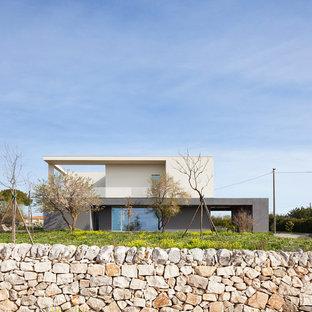 Idee per la facciata di una casa grande grigia contemporanea a due piani con tetto piano