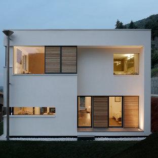 Foto della facciata di una casa bianca contemporanea a due piani di medie dimensioni con rivestimenti misti e tetto piano