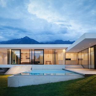 Ispirazione per la villa bianca moderna a un piano con tetto piano e rivestimento in vetro