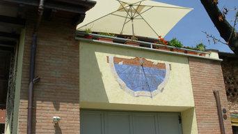 Orologio solare affrescato, segna l'ora solare vera