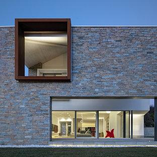 Ispirazione per la villa grande grigia moderna a due piani con rivestimento in pietra e tetto piano