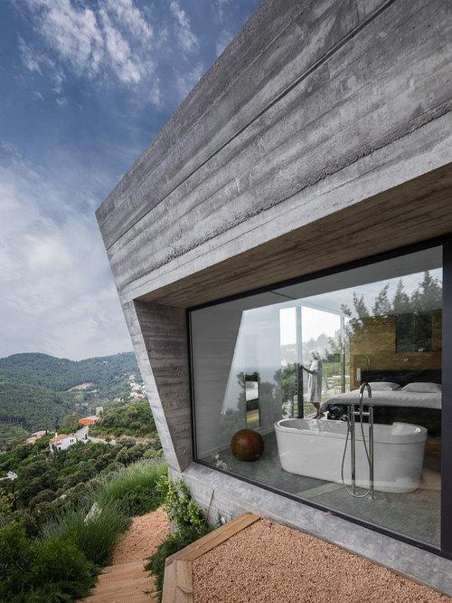 Ideas para fachadas dise os de fachadas con tejado plano Revestimiento de hormigon