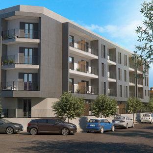 Immagine della facciata di un appartamento contemporaneo a tre o più piani con tetto piano