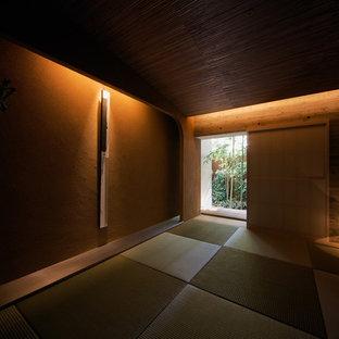 Idées déco pour une salle de séjour contemporaine avec un mur marron, un sol de tatami, aucune cheminée et aucun téléviseur.