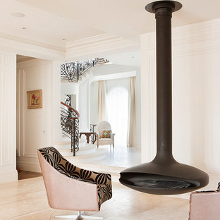 Game room - transitional open concept dark wood floor game room idea in Melbourne with a hanging fireplace