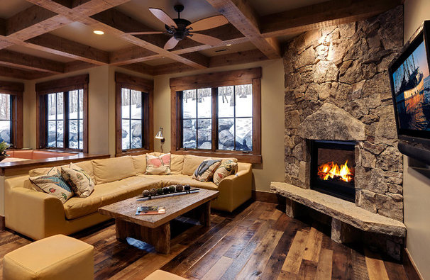 Rustic Family Room by Jaffa Group Design Build